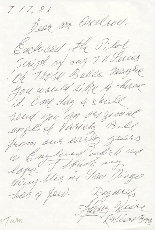 Image 1 for Harry Wiere - Autograph Letter Signed 07/17/1987 - HFSID 67339