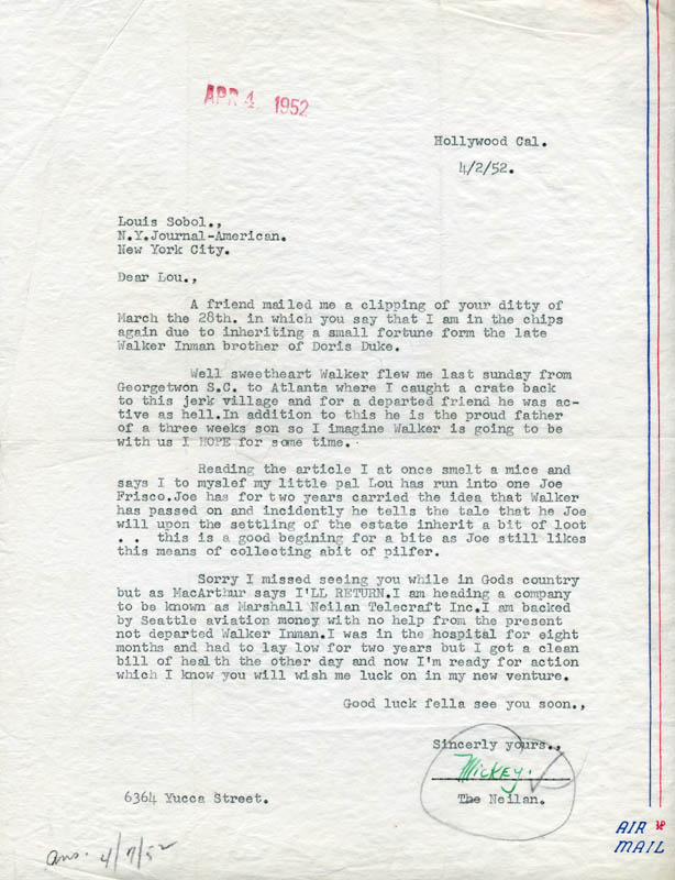 Image 1 for Marshall 'Mickey' Neilan - Typed Letter Signed 04/02/1952 - HFSID 67429