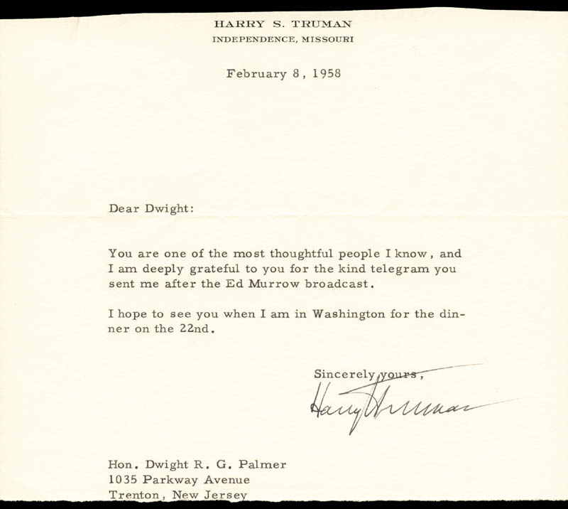 Image 1 for President Harry S Truman - Typed Letter Signed 02/08/1958 - HFSID 67520