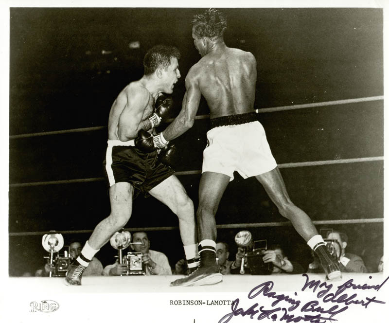 Image 1 for Jake 'The Raging Bull' La Motta - Inscribed Printed Photograph Signed In Ink - HFSID 67585