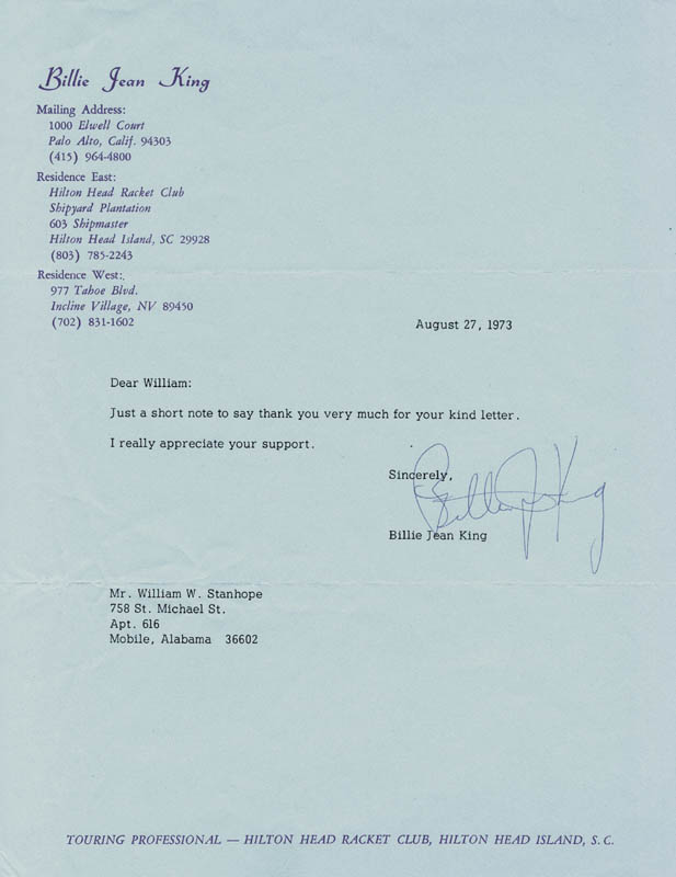 Image 1 for Billie Jean King - Typed Letter Signed 08/27/1973 - HFSID 67713