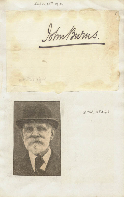Image 1 for John Burns - Autograph Circa 1919 - HFSID 67742