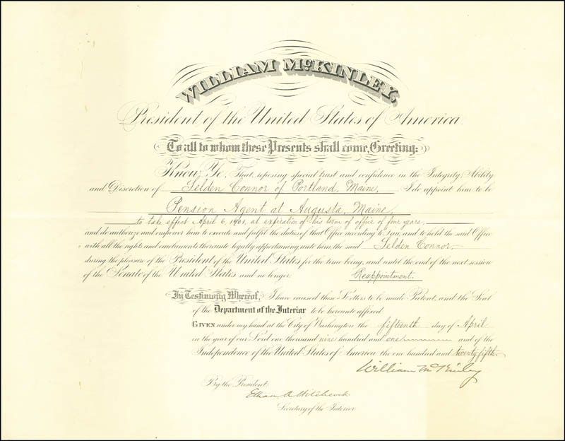 Image 3 for President William Mckinley - Civil Appointment Signed 04/15/1901 co-signed by: Ethan A. Hitchcock - HFSID 67865