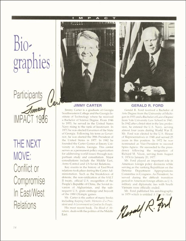 Image 1 for President James E. 'Jimmy' Carter - Biography Signed 1986 co-signed by: President Gerald R. Ford - HFSID 67893
