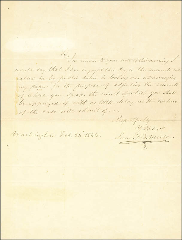 Image 1 for Samuel F. B. Morse - Autograph Letter Signed 02/24/1844 - HFSID 67939