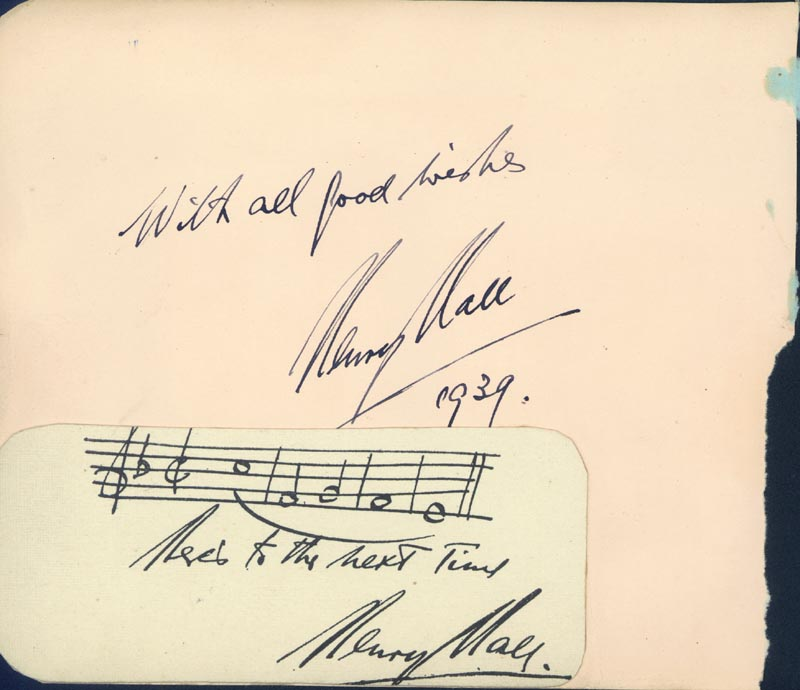 Image 1 for Henry Hall - Autograph Sentiment Signed 1939 - HFSID 68031