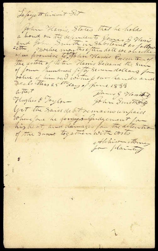 Image 1 for David R. Atchison - Autograph Document Signed 06/25/1833 co-signed by: Hughes P. Taylor, John Smith, James G. Harris - HFSID 68093