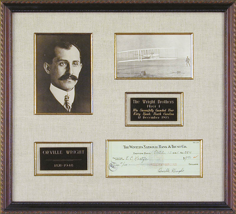 Image 1 for Orville Wright - Autographed Signed Check 10/13/1945 - HFSID 6813