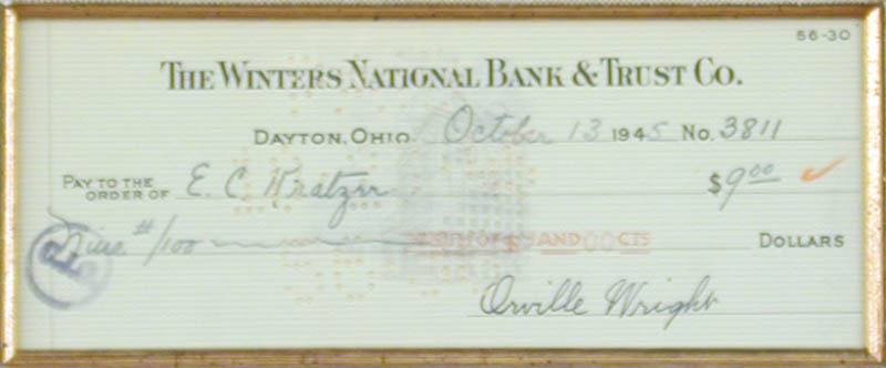 Image 3 for Orville Wright - Autographed Signed Check 10/13/1945 - HFSID 6813