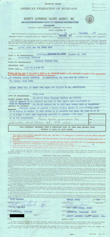 Image 1 for George Jones - Contract Signed 02/24/1975 - HFSID 68166