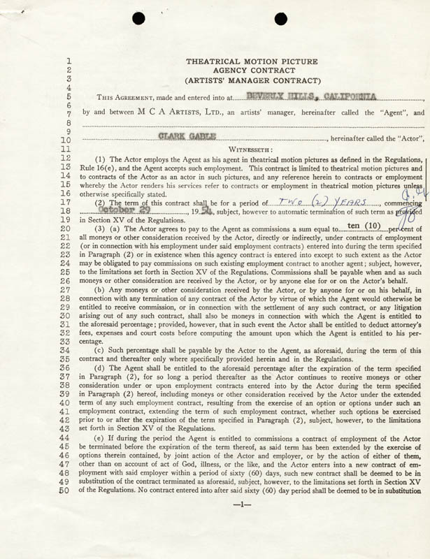 Image 3 for Clark Gable - Contract Signed 10/29/1954 - HFSID 68326