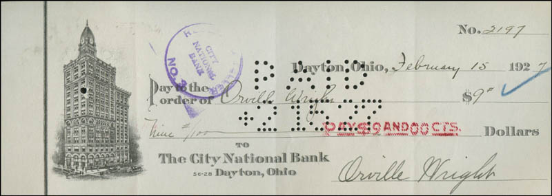 ORVILLE WRIGHT - CHECK SIGNED & ENDORSED 02/15/1927 - HFSID 6962