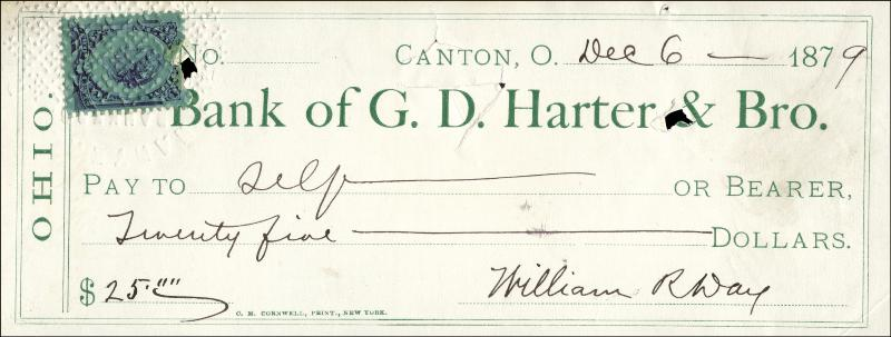 Image 1 for Associate Justice William R. Day - Autographed Signed Check 12/06/1879 - HFSID 70009