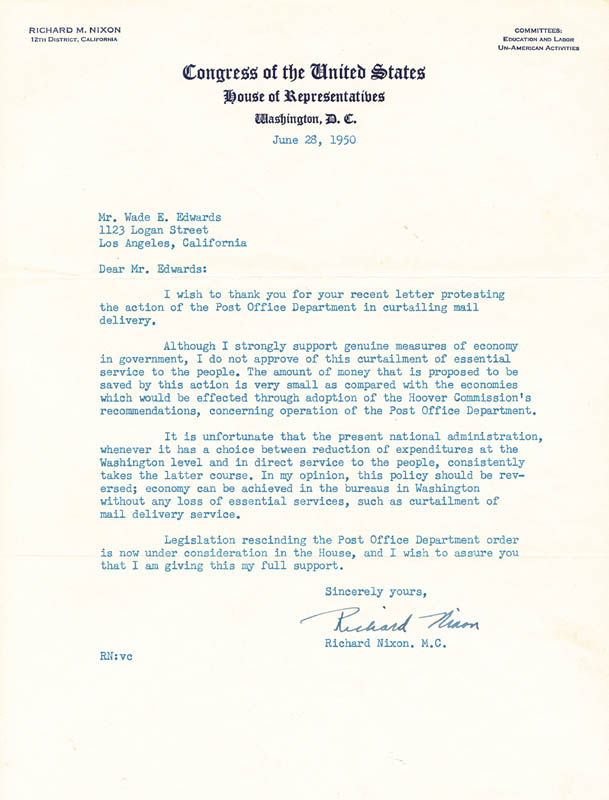 Image 1 for President Richard M. Nixon - Typed Letter Signed 06/28/1950 - HFSID 70170