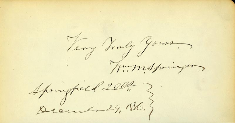 Image 1 for William M. Springer - Autograph 12/29/1886 - HFSID 70180