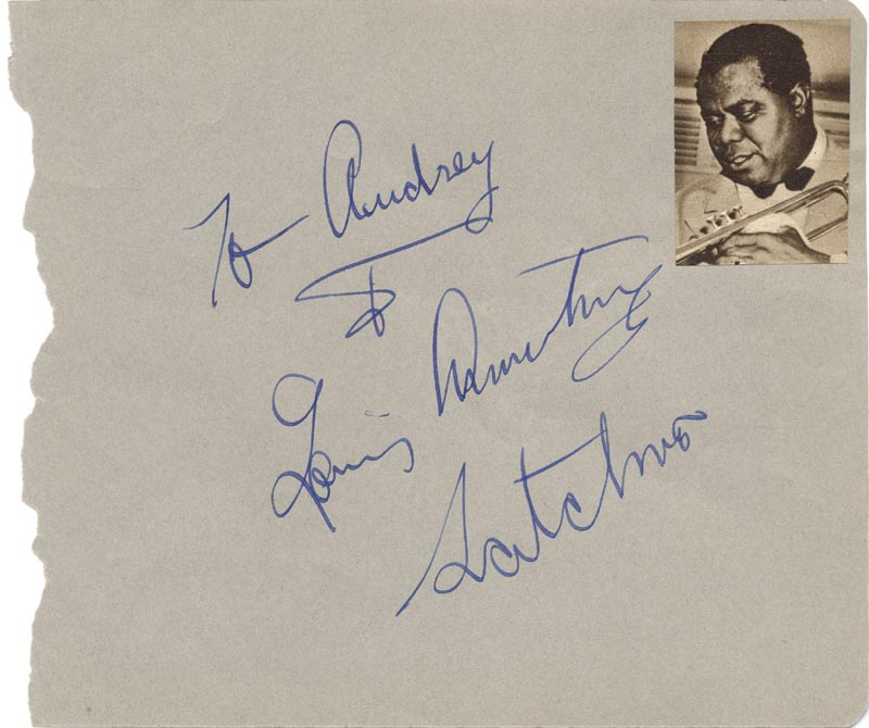 Image 1 for Louis 'Satchmo' Armstrong - Inscribed Album Leaf Signed - HFSID 70212