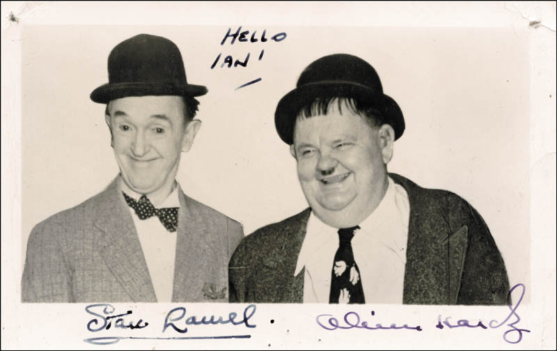 Image 1 for Laurel & Hardy - Inscribed Post Card Signed co-signed by: Laurel & Hardy (Oliver Hardy), Laurel & Hardy (Stan Laurel) - HFSID 70216