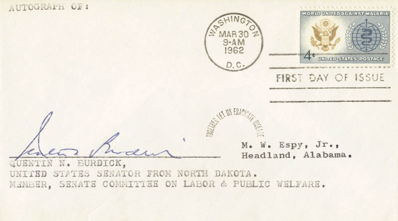 Image 1 for Quentin N. Burdick - First Day Cover Signed - HFSID 70474