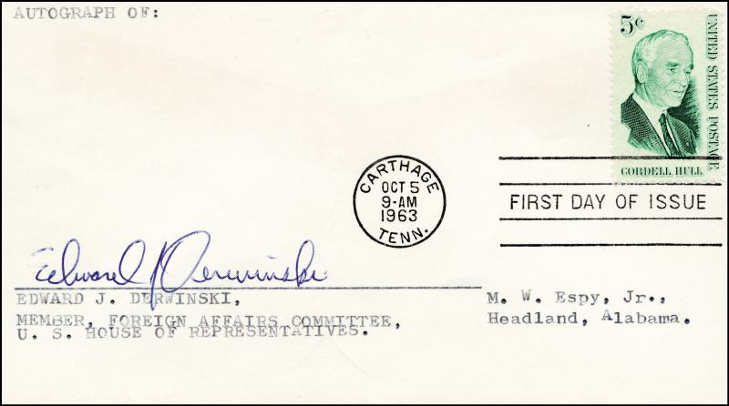 Image 1 for Edward J. Derwinski - First Day Cover Signed - HFSID 70610