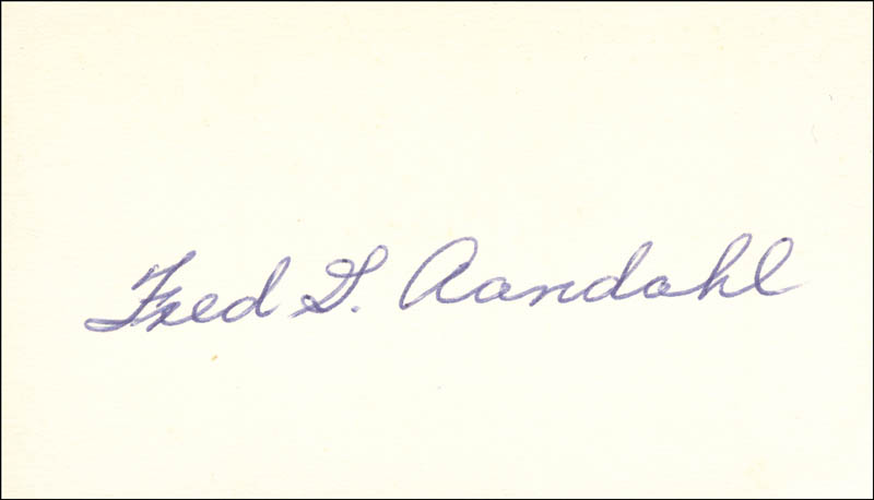 Image 1 for Fred G. Aandahl - Autograph - HFSID 70726