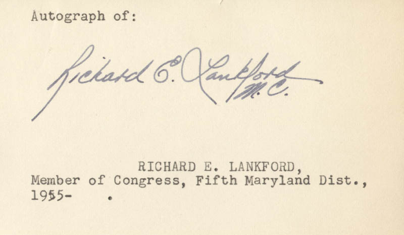 Image 1 for Richard E. Lankford - Autograph - HFSID 71006