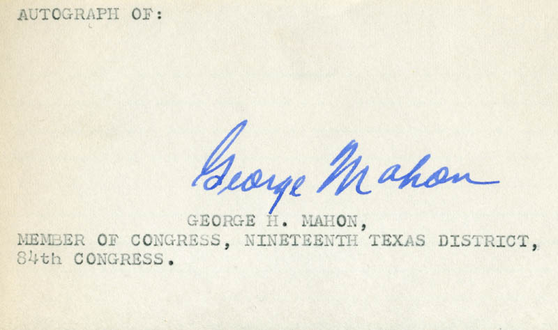 Image 1 for George Mahon - Autograph - HFSID 71057