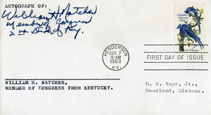 Image 1 for William H. Natcher - First Day Cover Signed 12/07/1963 - HFSID 71175