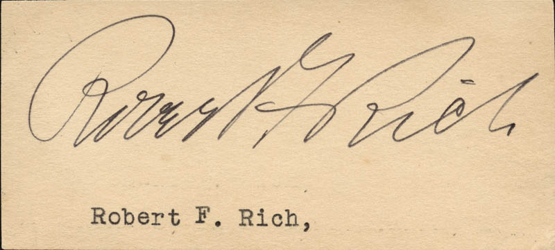 Image 1 for Robert F. Rich - Clipped Signature - HFSID 71309
