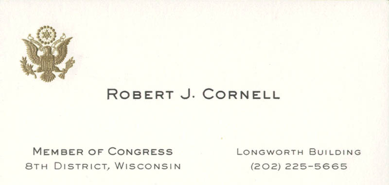 Image 3 for Rev. Robert J. Cornell - Business Card Signed - HFSID 71339