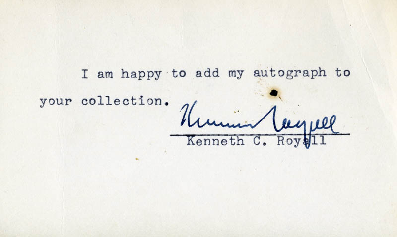 Image 1 for Brigadier General Kenneth C. Royall - Typed Note Signed - HFSID 71355