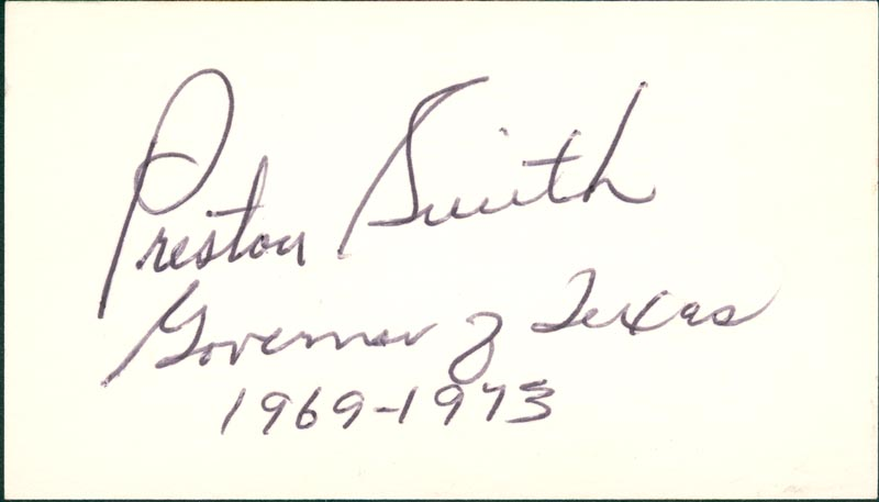 Image 1 for Governor Preston Smith - Autograph - HFSID 71437