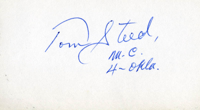 Image 1 for Thomas Jefferson 'Tom' Steed - Autograph - HFSID 71455