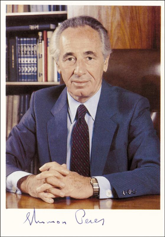 Image 1 for Prime Minister Shimon Peres - Autographed Signed Photograph - HFSID 72292
