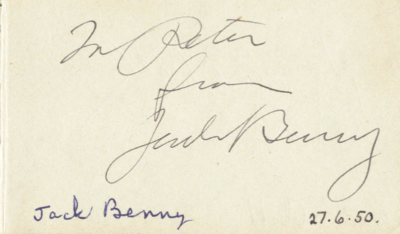 Image 1 for Jack Benny - Inscribed Signature Circa 1950 co-signed by: Abbott & Costello (Bud Abbott) - HFSID 72331