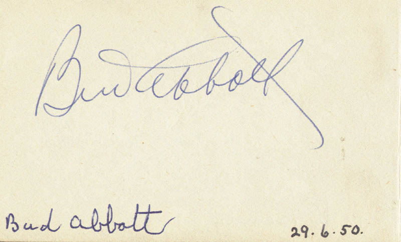 Image 3 for Jack Benny - Inscribed Signature Circa 1950 co-signed by: Abbott & Costello (Bud Abbott) - HFSID 72331