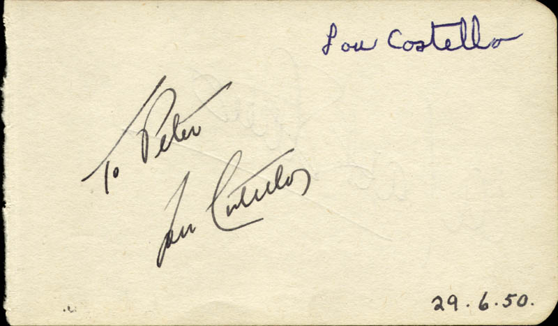 Image 1 for Abbott & Costello (Lou Costello) - Inscribed Signature Circa 1950 co-signed by: Mark Stevens - HFSID 72332