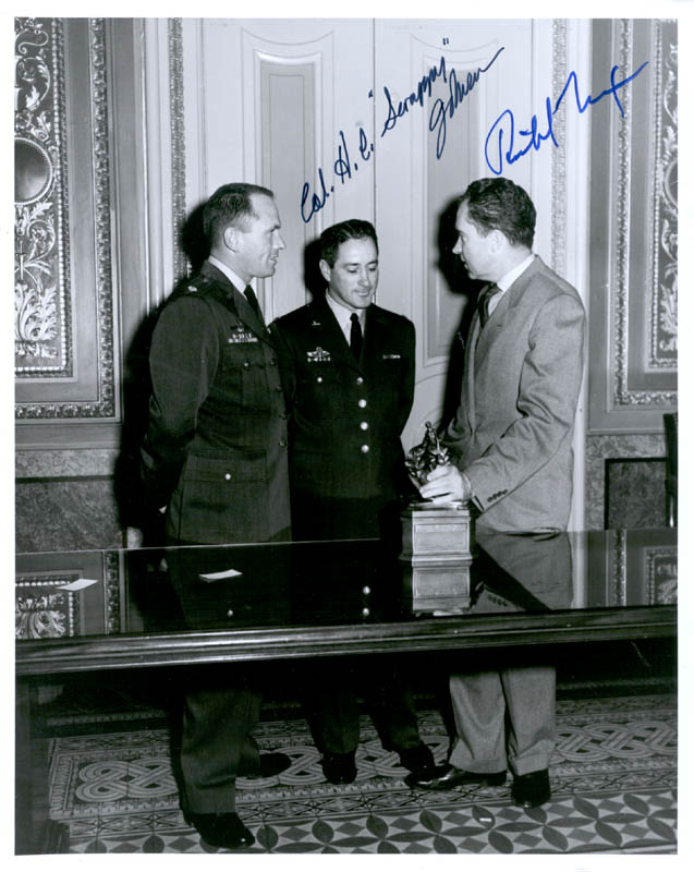 Image 1 for President Richard M. Nixon - Autographed Signed Photograph Circa 1959 co-signed by: Colonel Howard C. 'Scrappy' Johnson - HFSID 72627