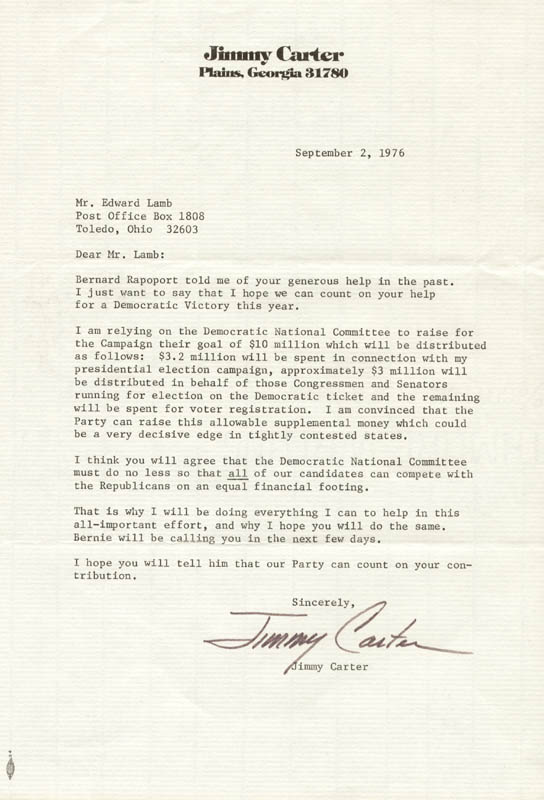 Image 1 for President James E. 'Jimmy' Carter - Typed Letter Signed 09/02/1976 - HFSID 72733