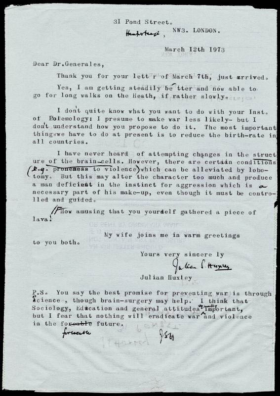 Image 1 for Sir Julian S. Huxley - Typed Letter Signed 03/12/1973 - HFSID 72758
