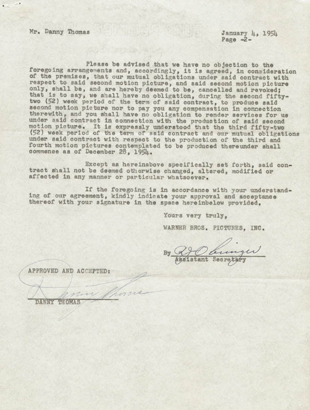 Image 1 for Danny Thomas - Contract Signed 01/04/1954 - HFSID 72814