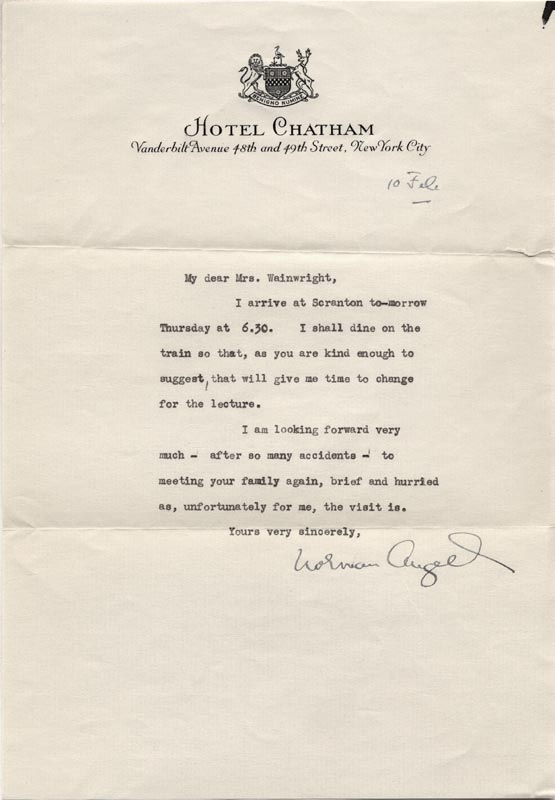 Image 1 for Sir Norman Angell - Typed Letter Signed 2/10 - HFSID 72951