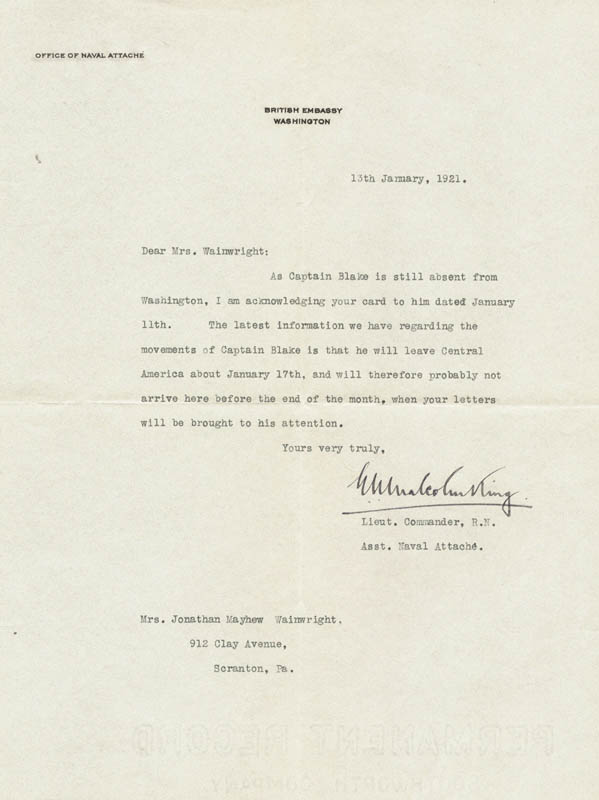 Image 1 for Lt. Commander E. N. Malcolm King - Typed Letter Signed 01/13/1921 - HFSID 73020