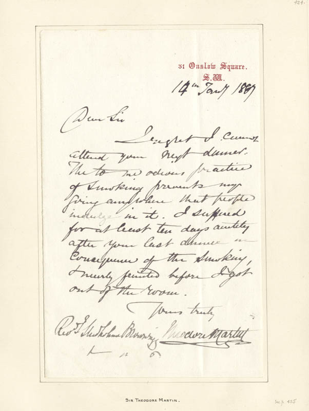 Image 1 for Sir Theodore Martin - Autograph Letter Signed 01/14/1887 - HFSID 73065