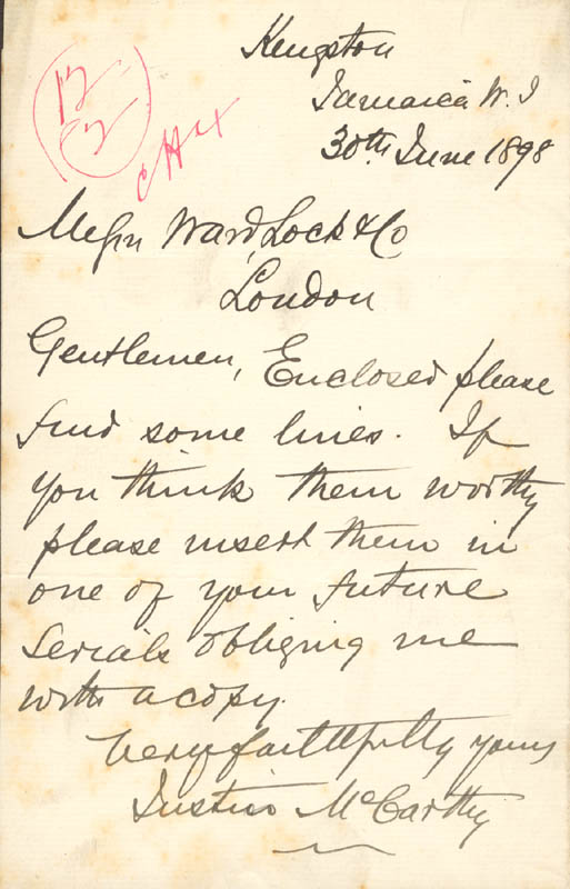 Image 1 for Justin Mccarthy - Autograph Letter Signed 06/30/1898 - HFSID 73075