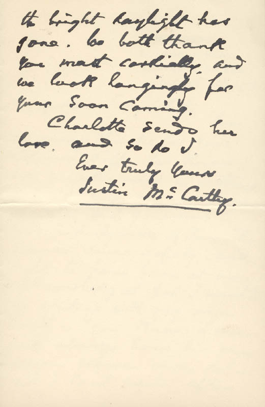 Image 1 for Justin Mccarthy - Autograph Letter Signed 08/24/1901 - HFSID 73076