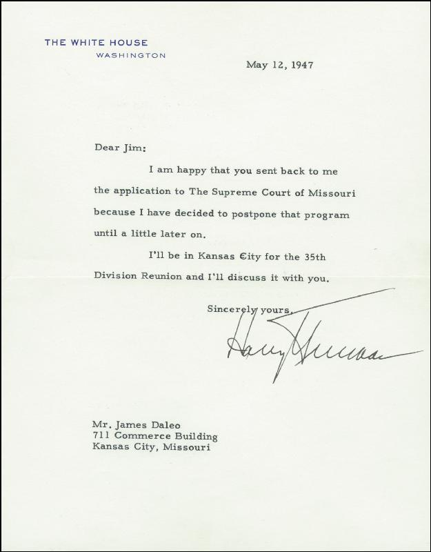 Image 1 for President Harry S Truman - Typed Letter Signed 05/12/1947 - HFSID 73223