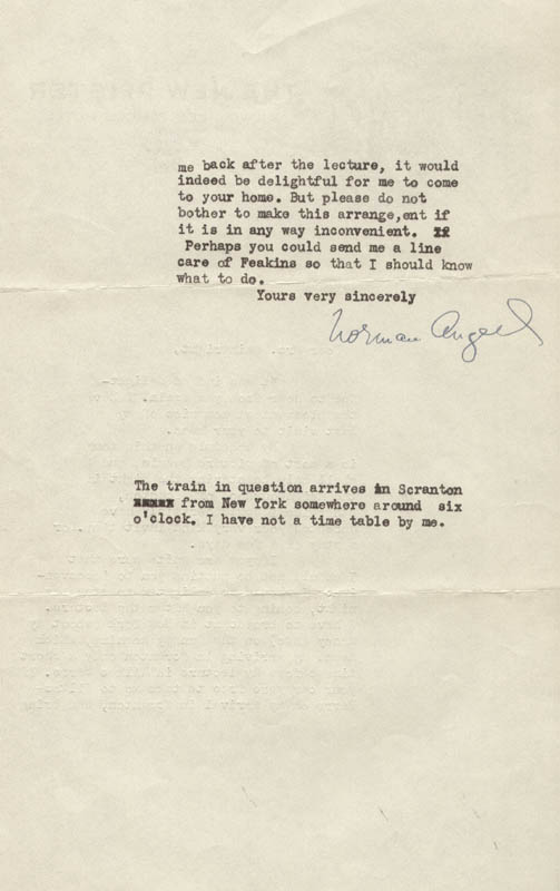 Image 1 for Sir Norman Angell - Typed Letter Signed Circa 1932 - HFSID 73255