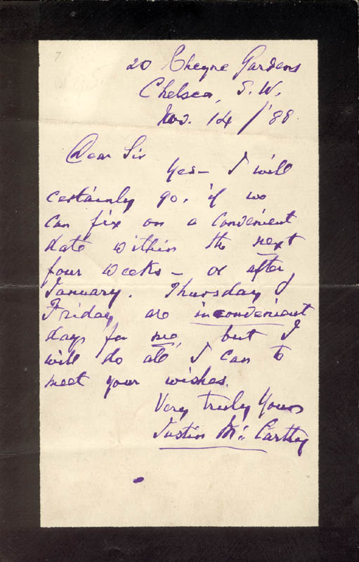 Image 1 for Justin Mccarthy - Autograph Letter Signed 11/14/1888 - HFSID 73353