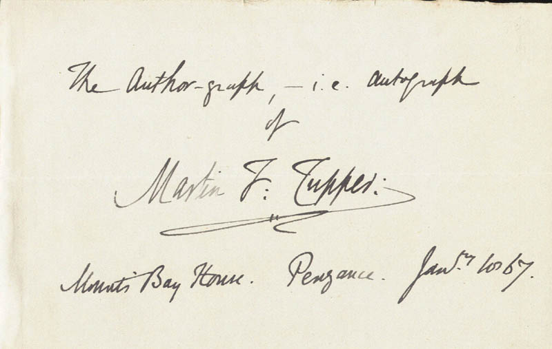 Image 1 for Martin F. Tupper - Autograph 01/10/1867 - HFSID 73433