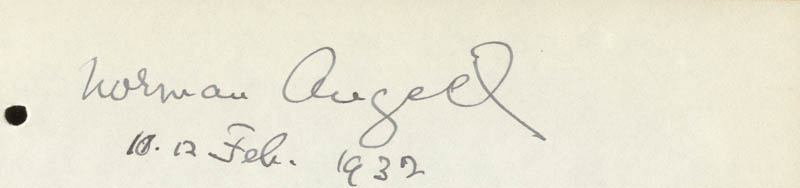 Image 1 for Sir Norman Angell - Autograph 02/12/1932 - HFSID 73447